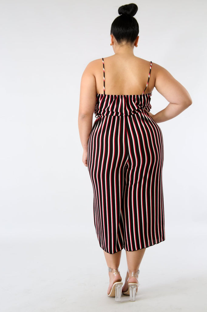 PLUS SIZE Red Stripe Mid-Calf Jumper