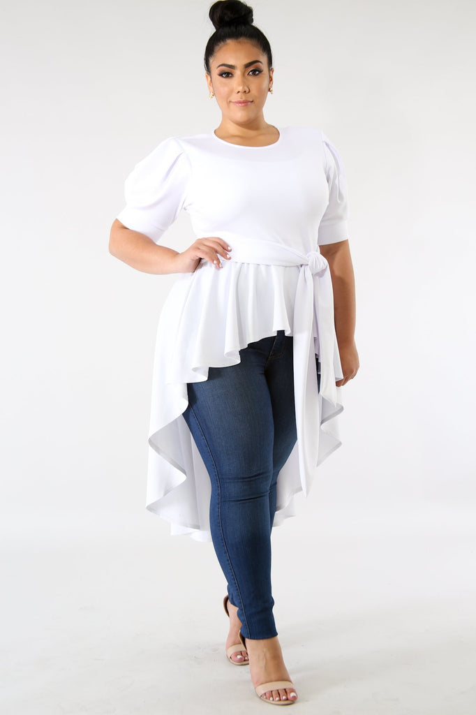 PLUS SIZE White High Low Ruffle Blouse