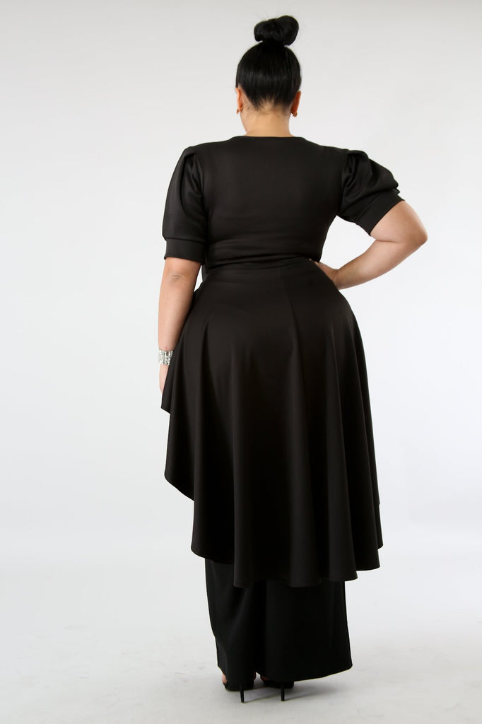 PLUS SIZE Black High Low Ruffle Blouse