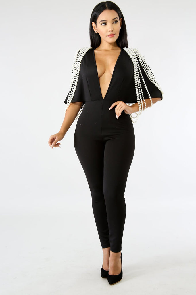 Black Pearl Embellished Jumpsuit