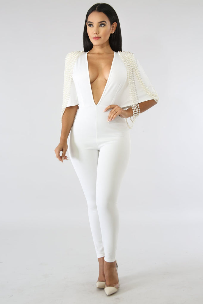 White Pearl Embellished Jumpsuit