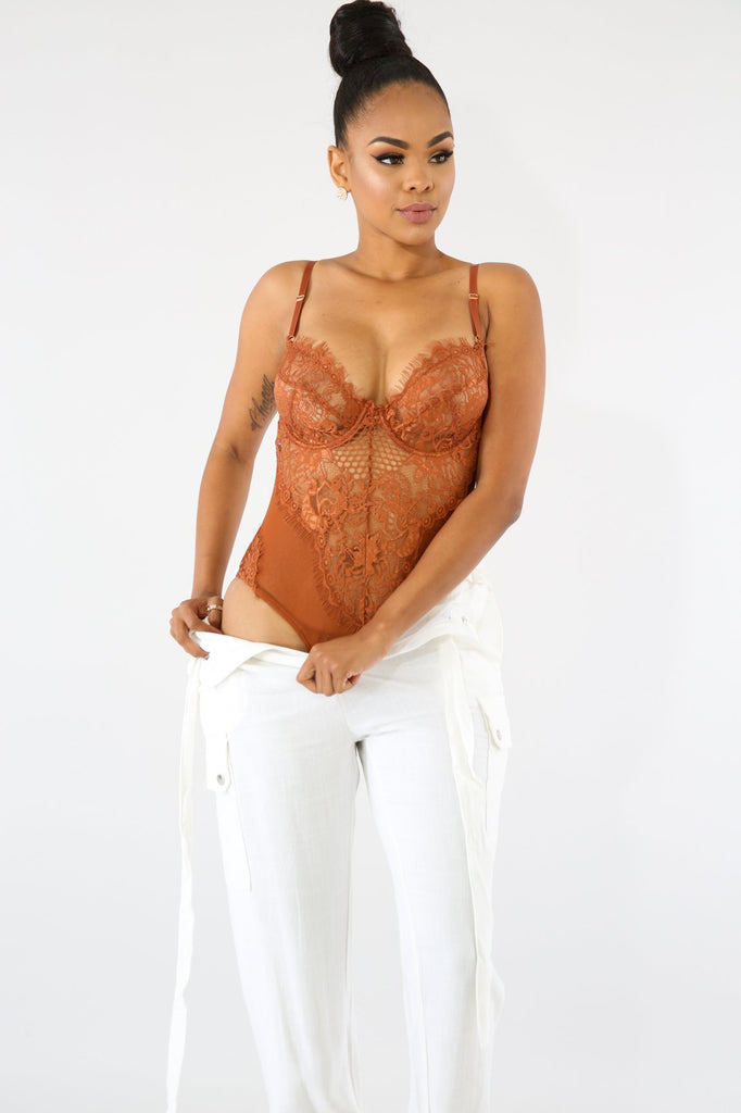 TIC TOC Rust Lace Bodysuit
