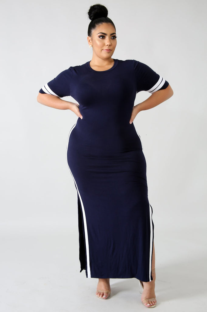 PLUS SIZE Navy Jersey Knit Slit Leg Maxi Dress