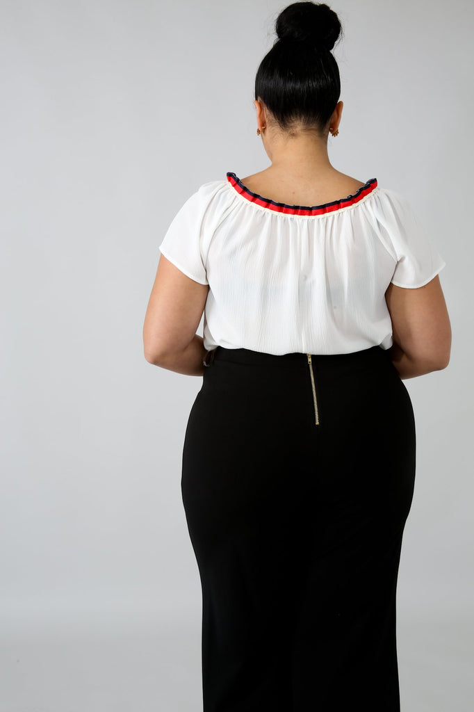PLUS SIZE White Chiffon Short Sleeve Blouse