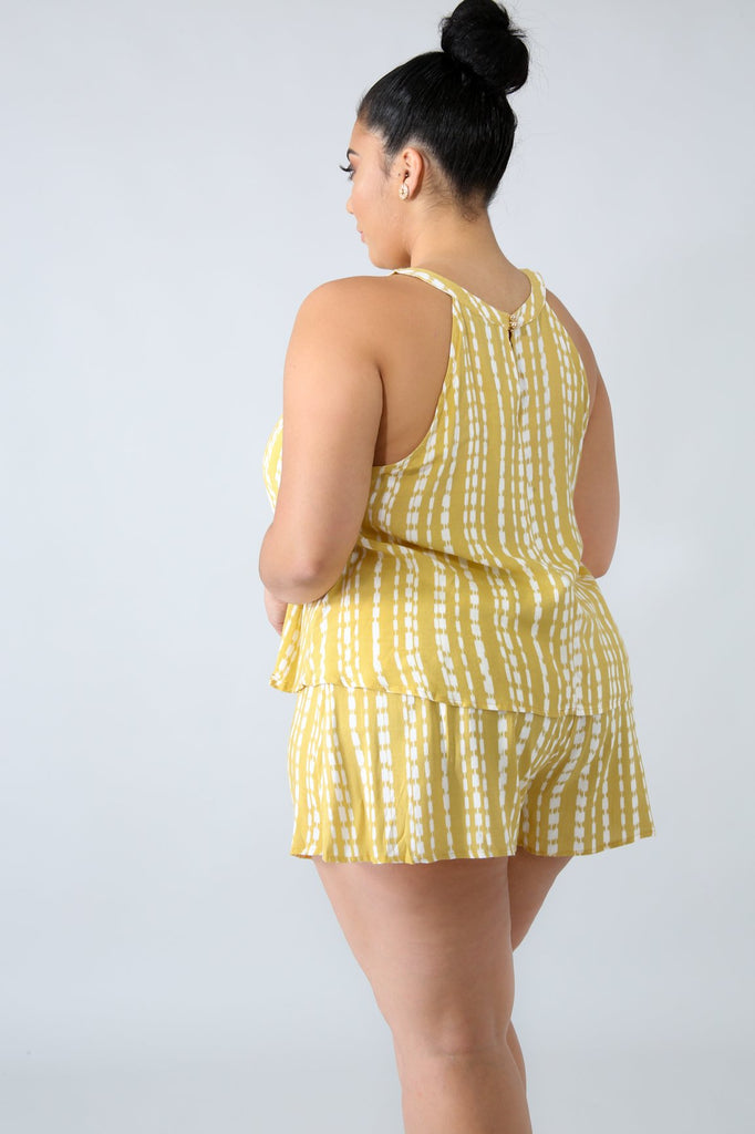 PLUS SIZE Yellow Stripe Short Set