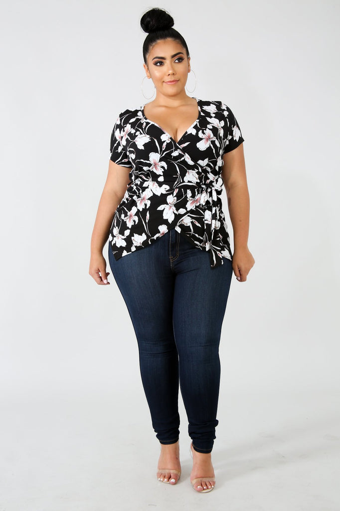 PLUS SIZE Black Floral Print Wrap Blouse