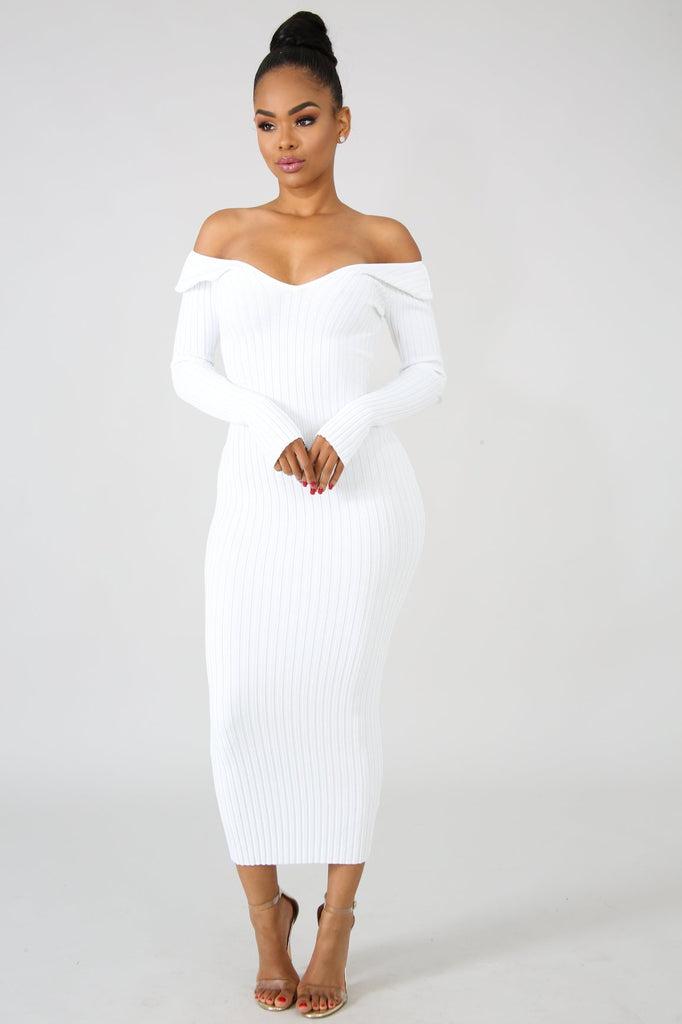 White Ribbed Knit Midi Dress