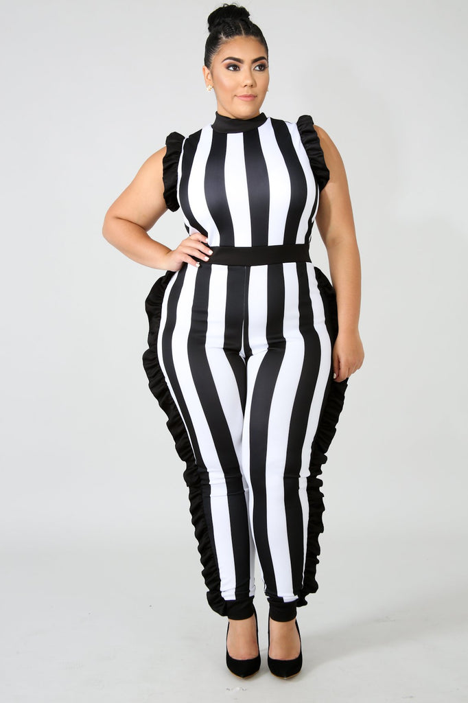 PLUS SIZE Black & White Stripe Ruffle Jumpsuit