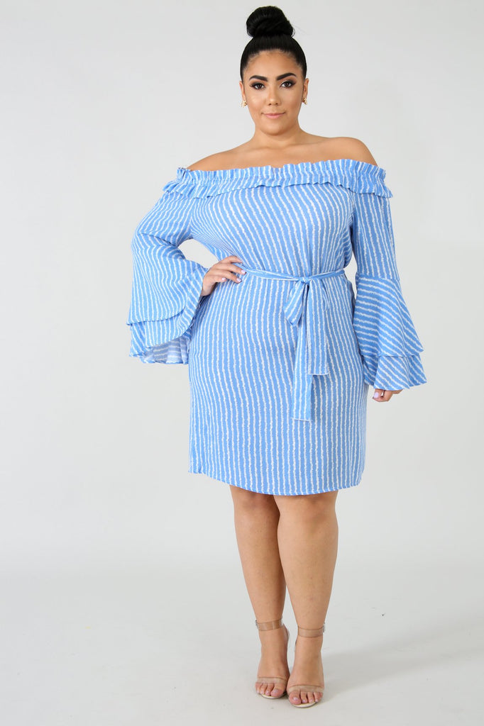 PLUS SIZE Blue Stripe Off The Shoulder Midi Dress