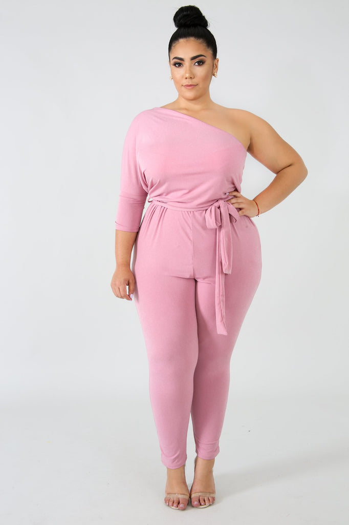PLUS SIZE Mauve Pink One Shoulder Spandex Jumpsuit