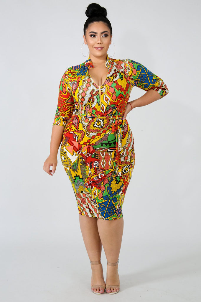 PLUS SIZE Tribal Print Bodycon Midi Dress