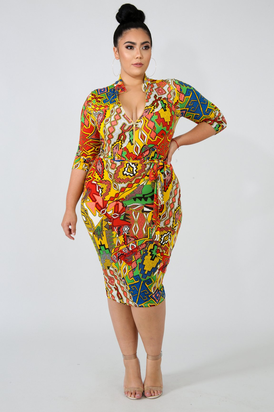 PLUS SIZE Tribal Print Bodycon Midi Dress – STAR GAL STYLES