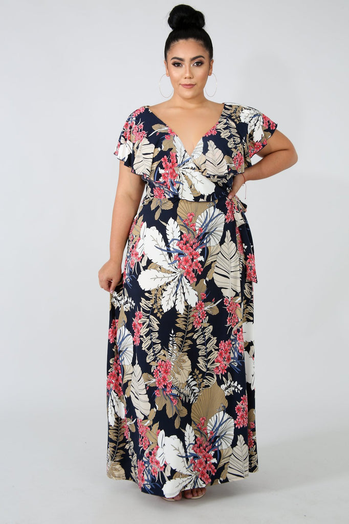 PLUS SIZE Navy Floral Wrap Maxi Dress
