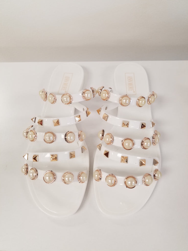White Strappy Pearl Studded Slides