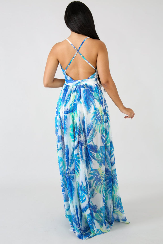 Aruba White Palm Print Maxi Dress