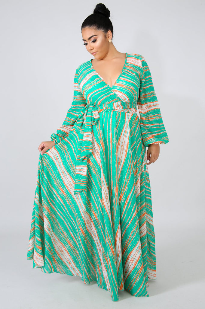 PLUS SIZE Green Abstract Print Maxi Dress