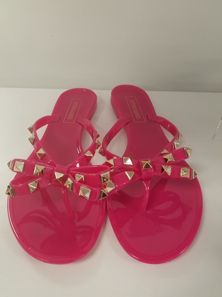 Pink Studded Bow Jelly Sandals