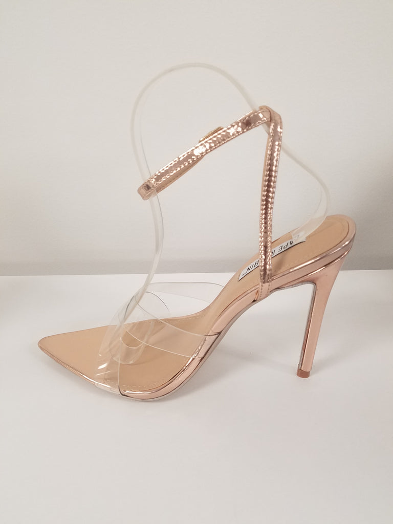 Double Cross Rose Gold Pointed Toe Heel