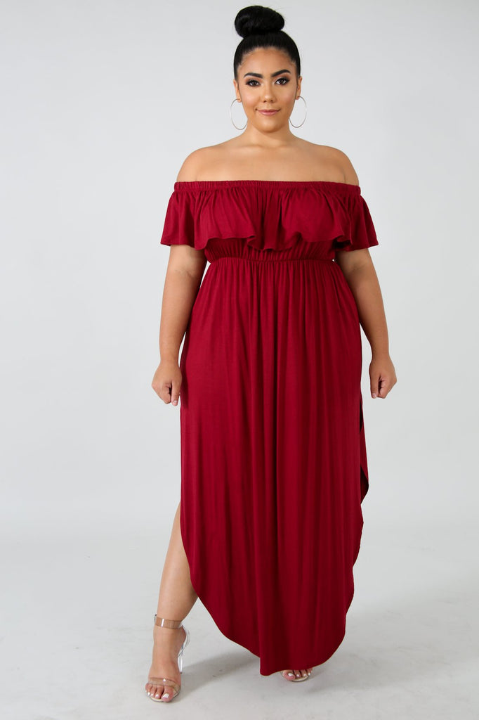 PLUS SIZE Burgundy Red Off The Shoulder Midi Dress