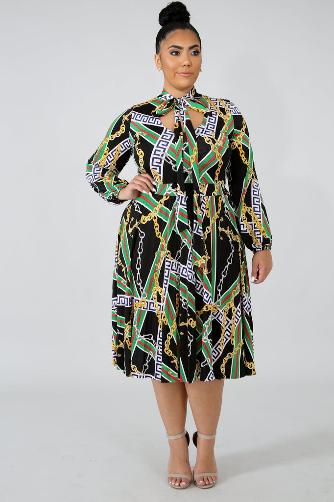 PLUS SIZE Chain Print Long Sleeve Flare Dress