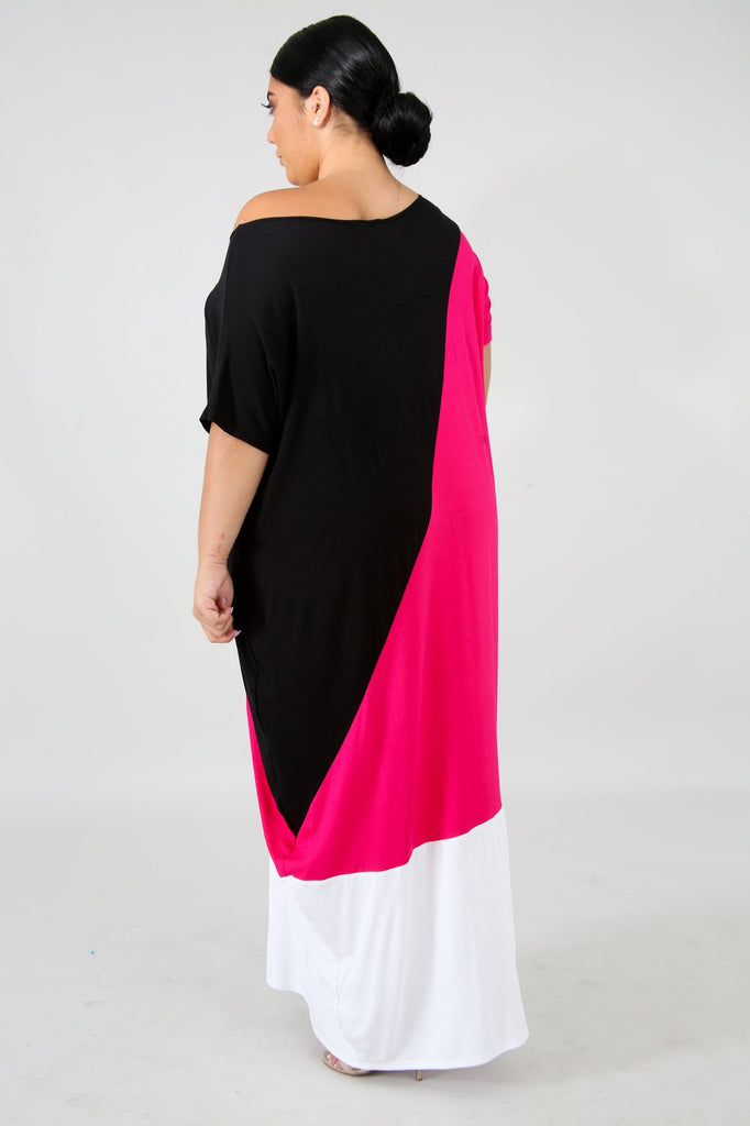 PLUS SIZE Colorblock Jersey Maxi Dress