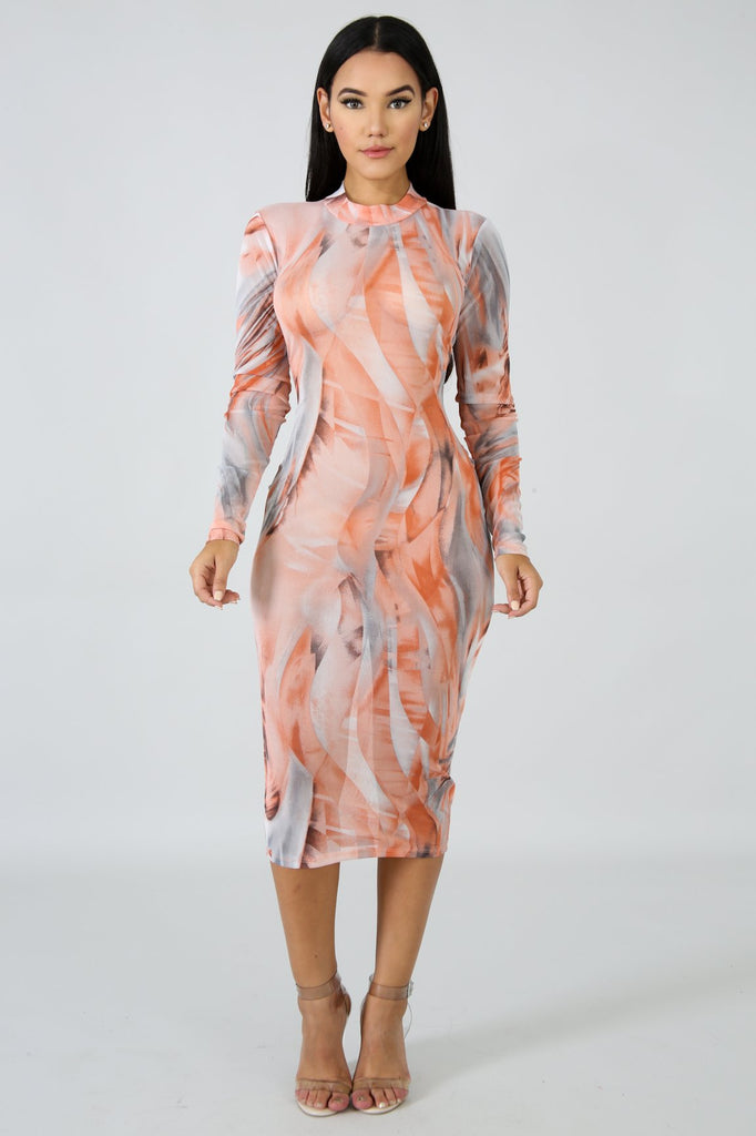 Kylie Peach Wave Pattern Midi Dress