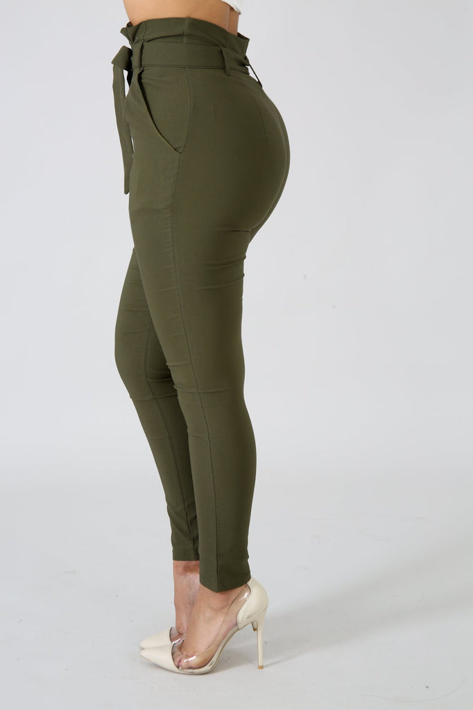 Olive Green Gathered Waist Skinny Pant