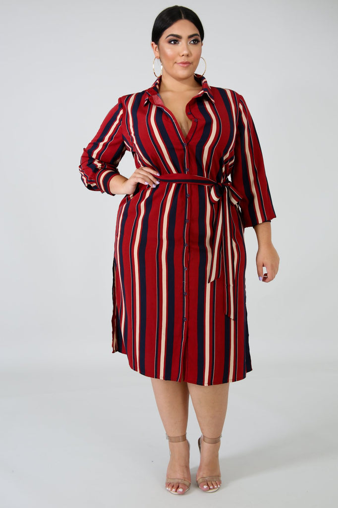 PLUS SIZE Burgundy Red Shirt Dress