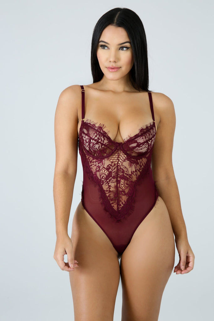 Tic Toc Plum Lace Bodysuit