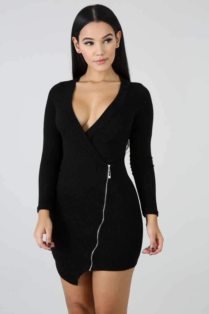Marcy Black Knit Zip Front Mini Dress