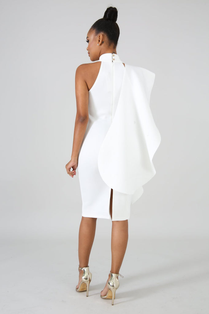 White Dramatic Sleeve Bodycon Midi Dress