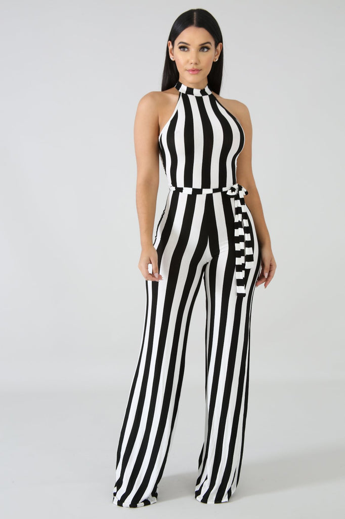 Black & White Stripe Jumpsuit