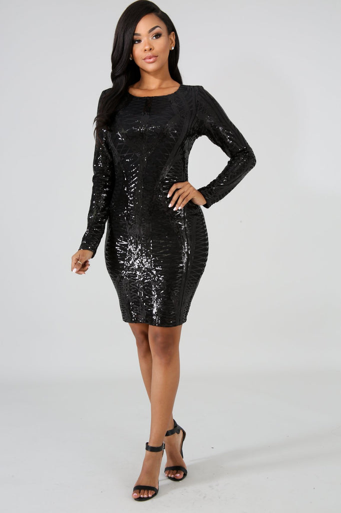 Black Long Sleeve Sequin Midi Dress
