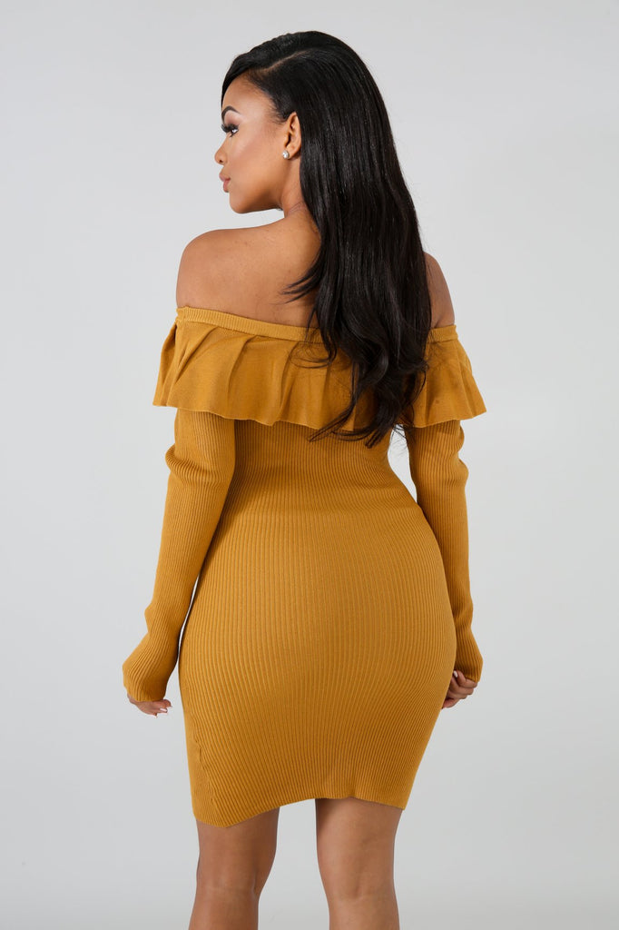 Iris Mustard Off Shoulder Bodycon Mini Dress