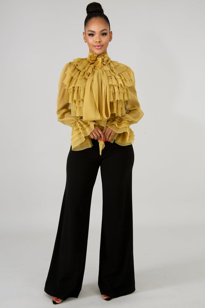 Mustard Yellow Ruffle Front Sheer Blouse