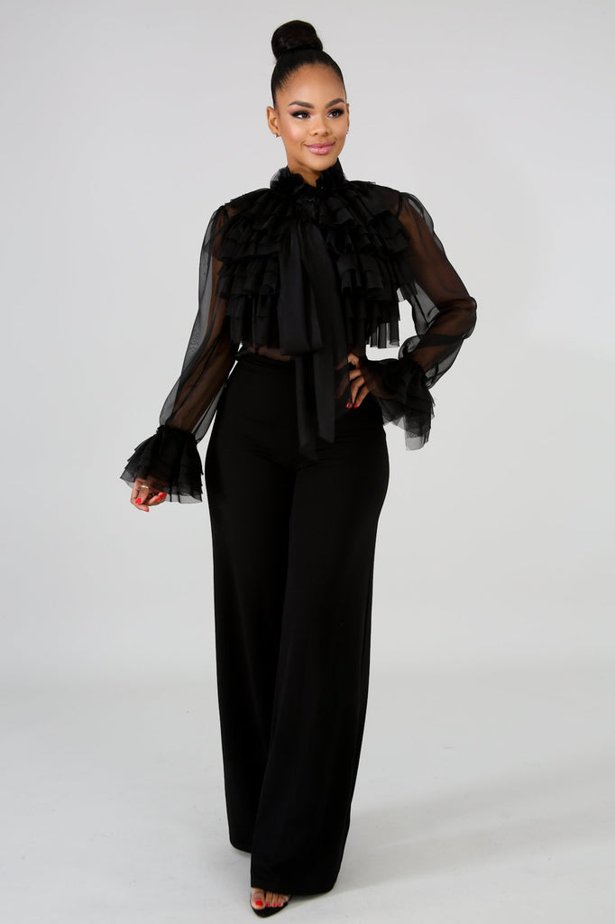 Black Ruffle Front Sheer Blouse