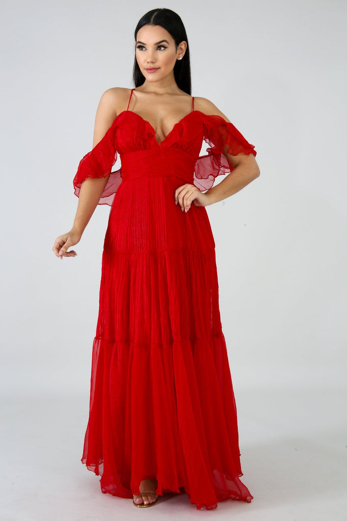 Starring Roles Red Pleated Maxi Dress
