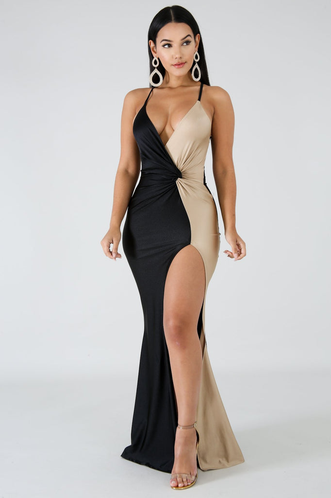 Black & Gold Slit Leg Maxi Dress