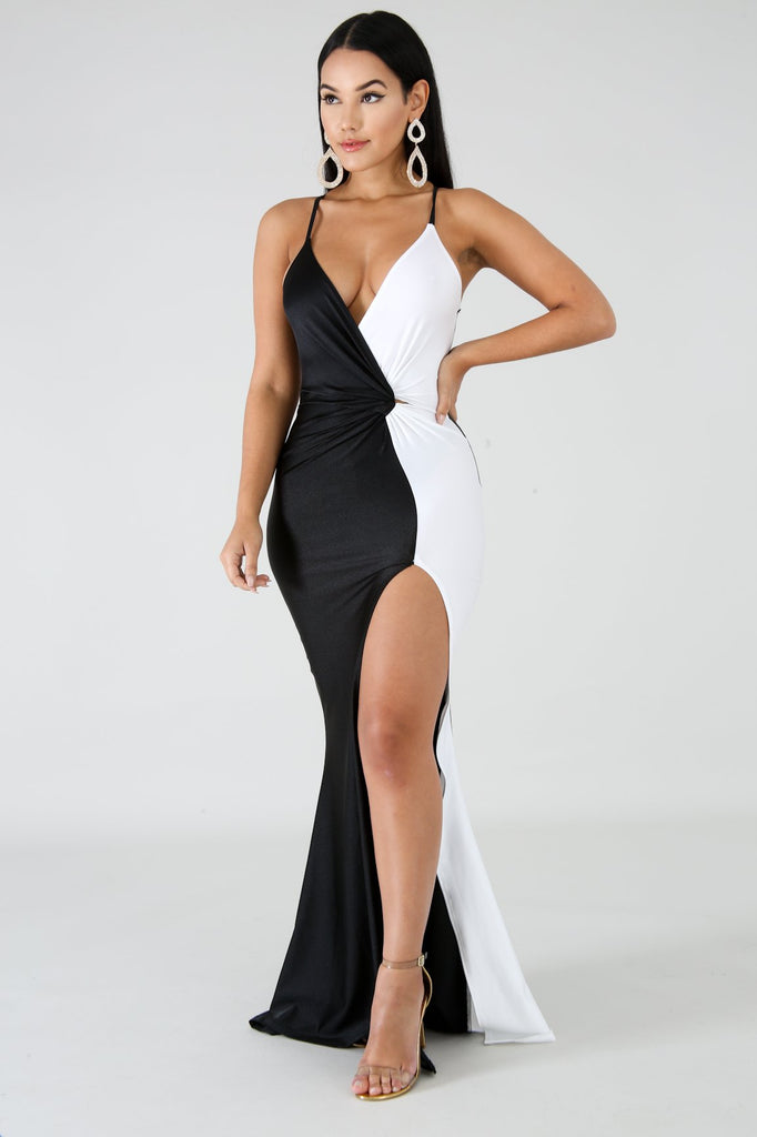 Black & White Slit Leg Maxi Dress