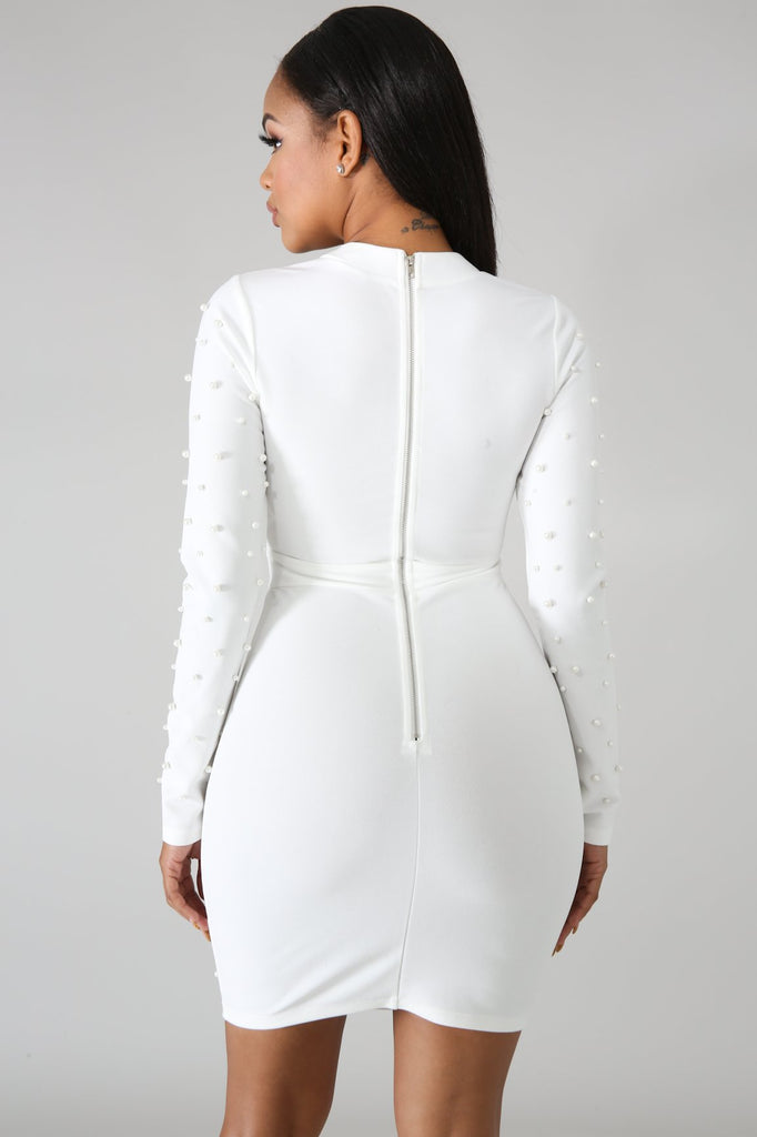 White Pearl Long Sleeve Mini Dress