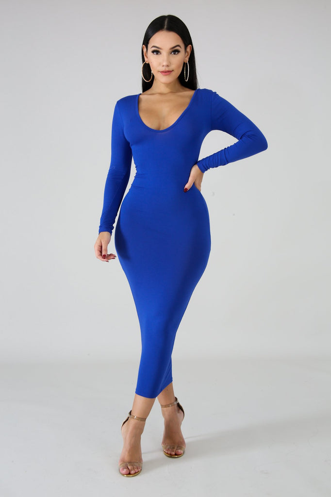 Royal Blue Basic Knit Bodycon Midi Dress