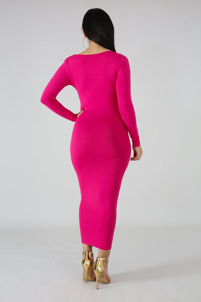 Pink Basic Knit Bodycon Midi Dress