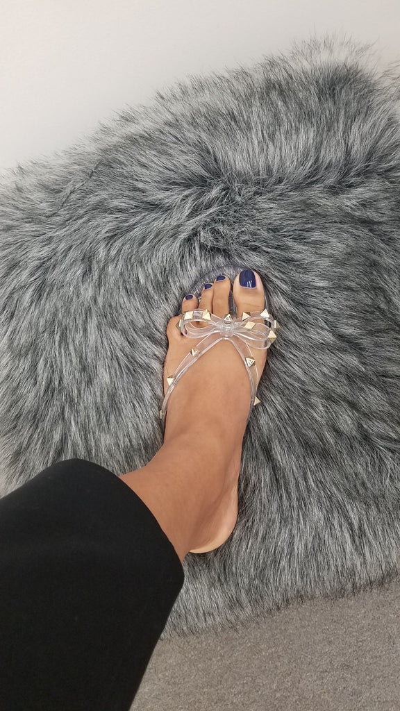 Clear Studded Bow Jelly Flat Sandals