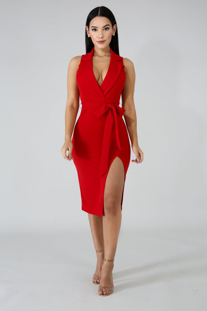 Red Slit Leg Tux Midi Dress