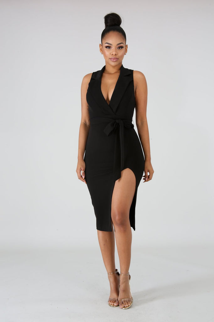 Black Slit Leg Tux Midi Dress
