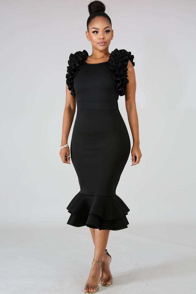 Black Ruffle Sleeve Bodycon Midi Dress