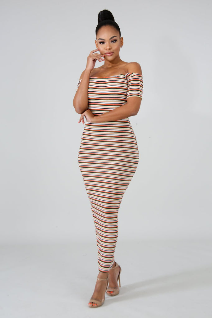Multi-Stripe Open Back Midi Dress