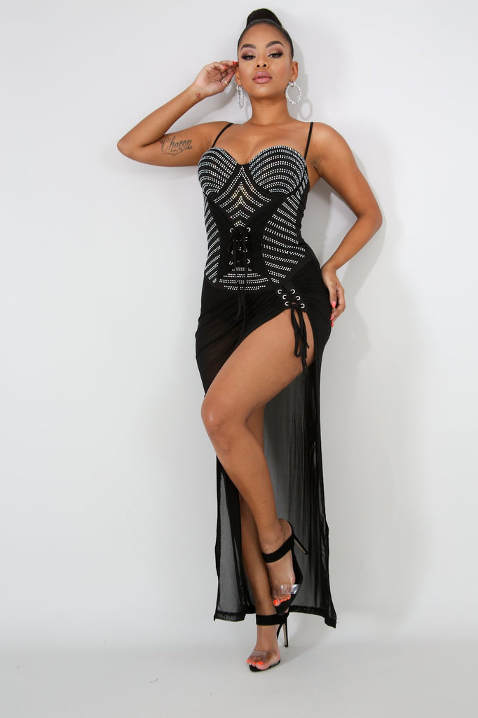 Black Rhinestone Bodysuit Mesh Dress