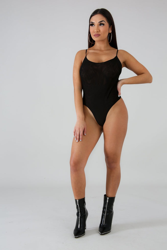 Black Mesh Thong Bodysuit