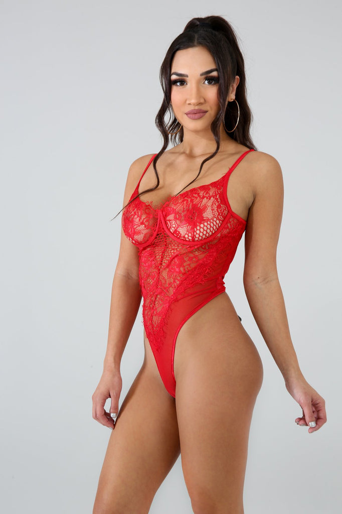 Hera Red Lace Bodysuit